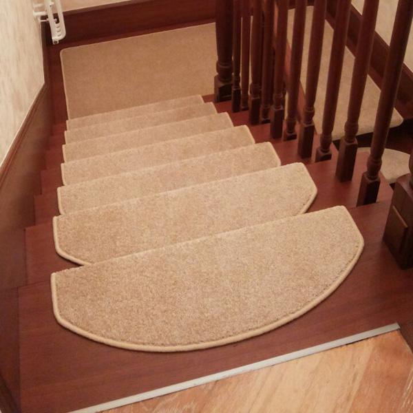 Ковровые накладки на лестницу Сливки бежевый
